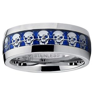 Jewelry - Stainless Steel Band W/Silver Skulls on Slate Blue